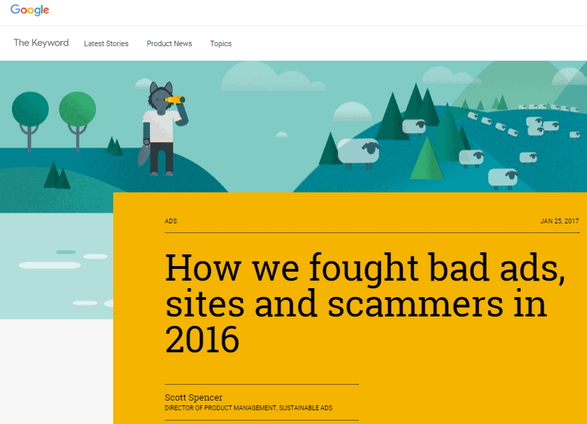 "En-tête de ""How we fought bad ads, sites and scammers in 2016"" Google Inc"