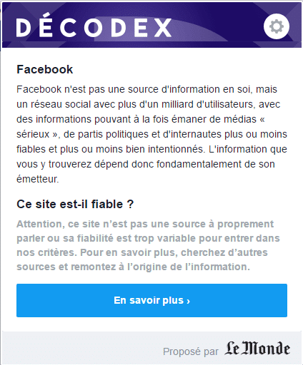 Résultat plugin decodex pour la page Facebook