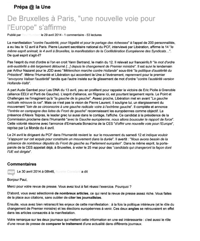 Revue de presse Bruxelles