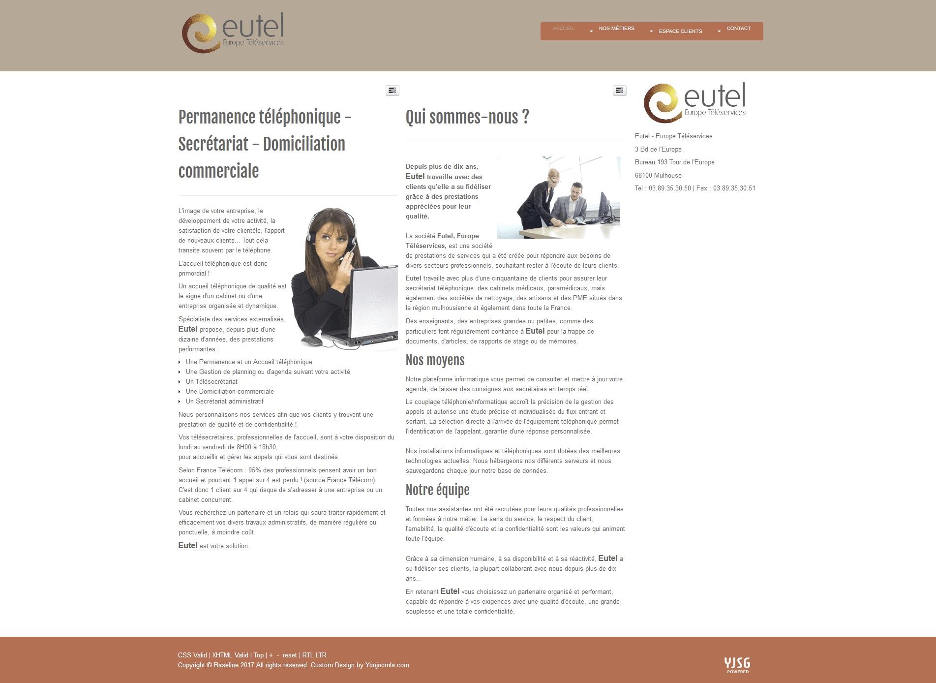 Page d'accueil de la société EUTEL téléservices